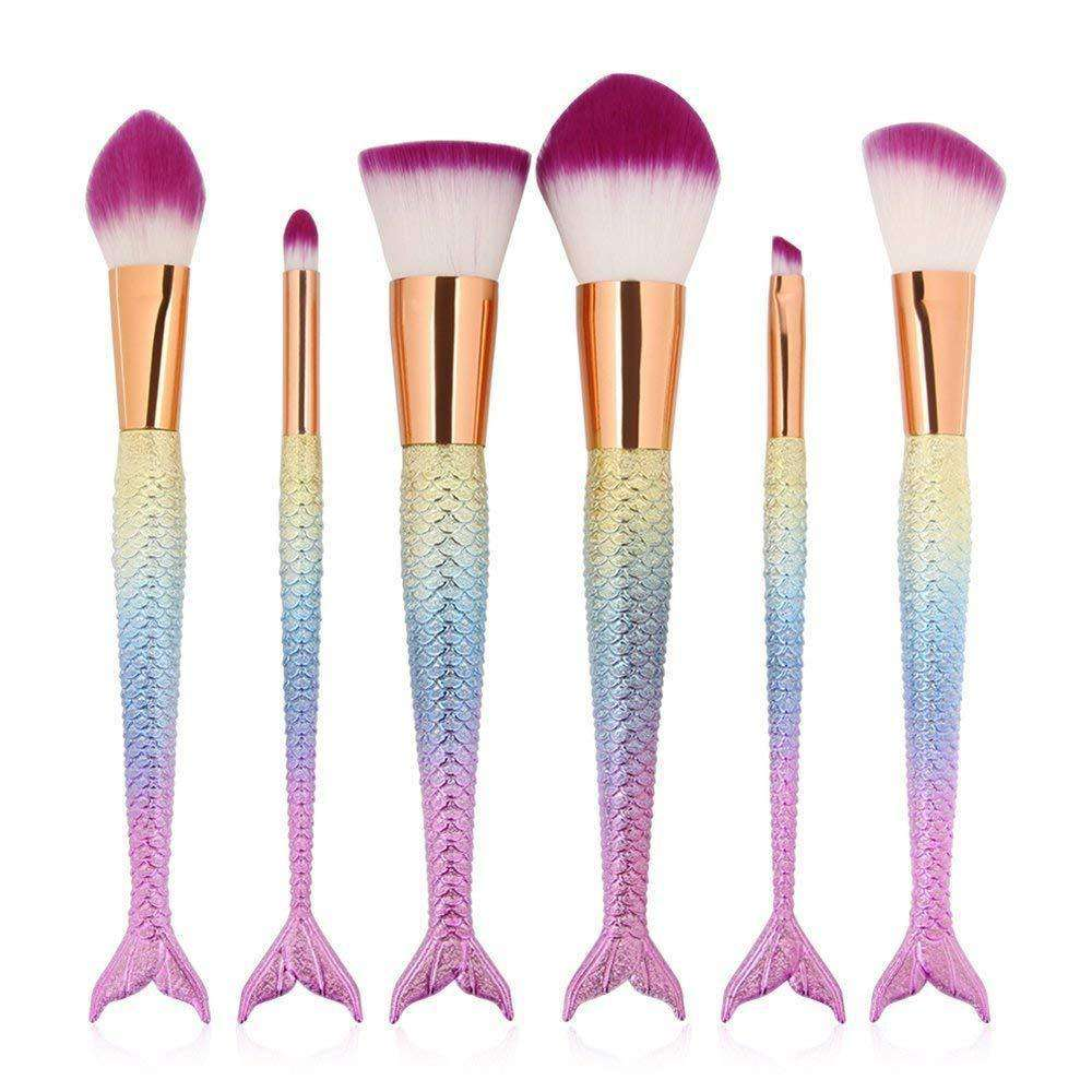 6 Pcs Mermaid Makeup Brush Set