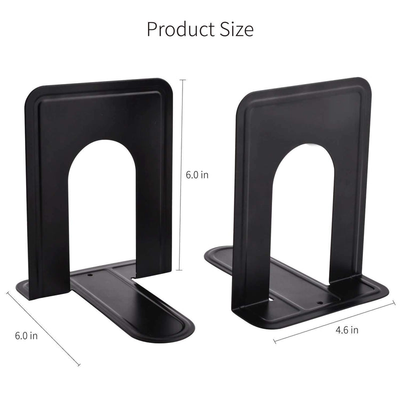 Heavy Duty Metal Book Ends Supports for Books, Movies, DVDs, Magazines, Video Games, Standard, 6.inch, Black, 2 Pair
