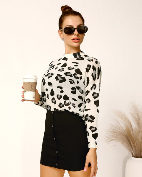All Over Print Mock Neck Sweater