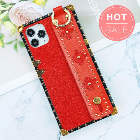 Flower Pattern Rivet Border Decorate iPhone Case with Wrist Strap