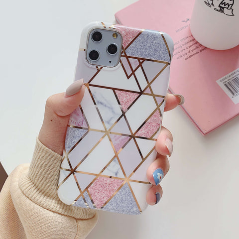 Multicolored Joint Marble Pattern iPhone Case