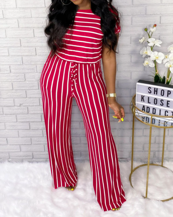 Stripes Boat Neck Drawstring Jumpsuit