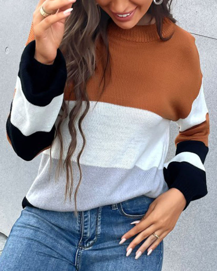 Colorblock Rib-Knit Round Neck Sweater gallery 2