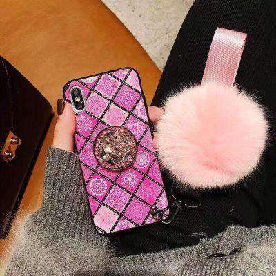 Classic Retro Rhombus Pattern iPhone Cases with Phone Holder & Fuzzy Furry Plush Ball