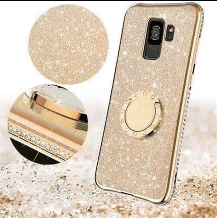 Glittering Diamond Phone Case for Samsung S9 with Phone Holder and Hand Strap