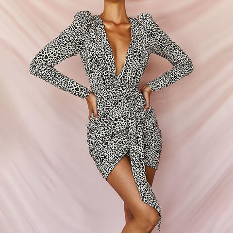 Sexy Deep V-Neck Leopard Print Puff Sleeves Asymmetric Bottom Hem Mini Dress
