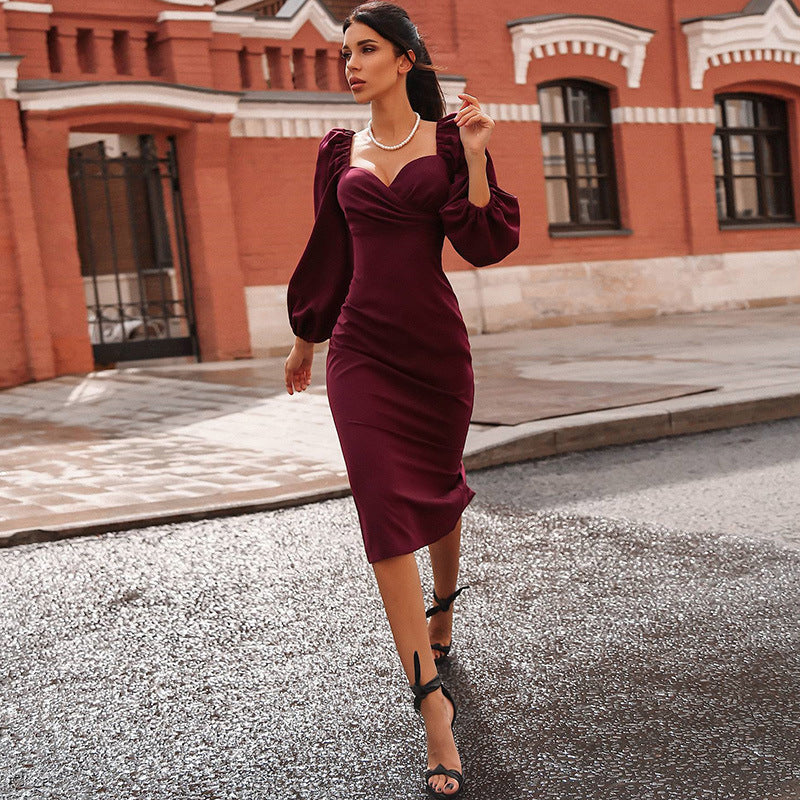 Stylish Puff Sleeve Wrap Detail Bodycon Midi Dress