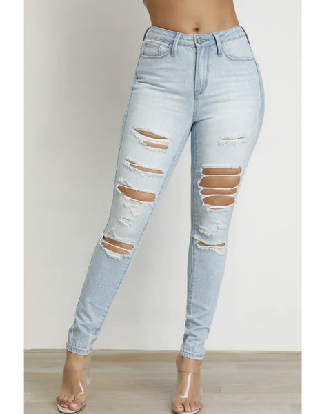 Stretch Distressed Skinny Jeans