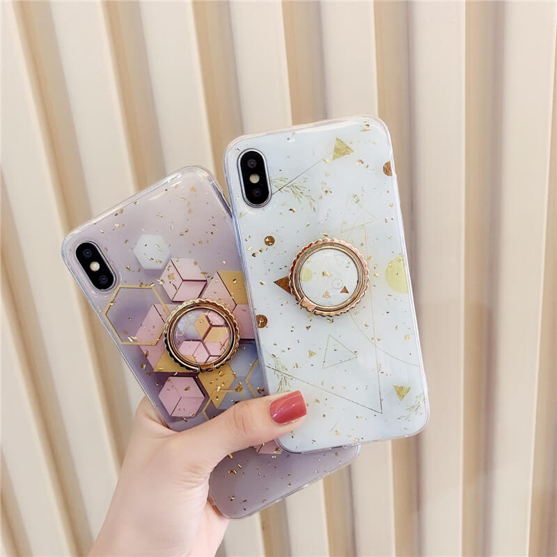 Geometric Pattern Gold Sequins Decorated iPhone Case with Phone Holder