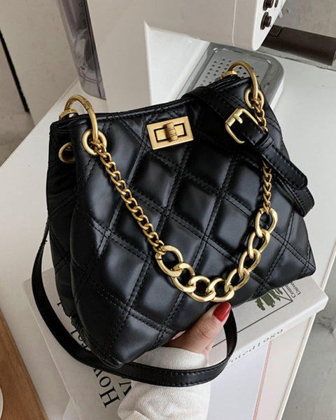 Twist Lock Quilted Chain Detail Crossbody Bag