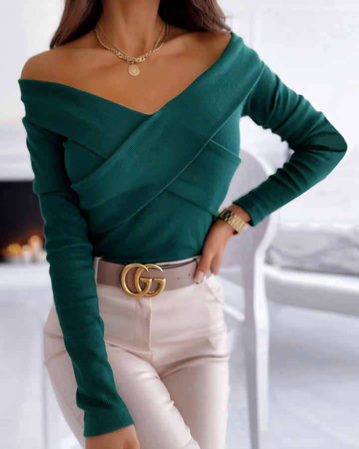 Surplice Neck Overlap Ribbed Knit Sweater gallery 9