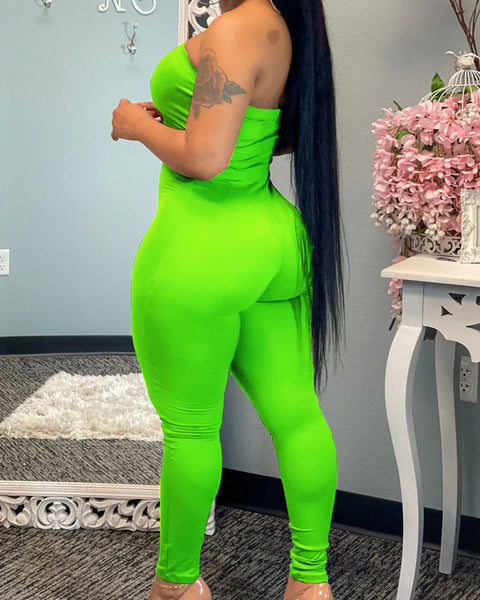 Solid Strapless Form Fitting Jumpsuit gallery 10