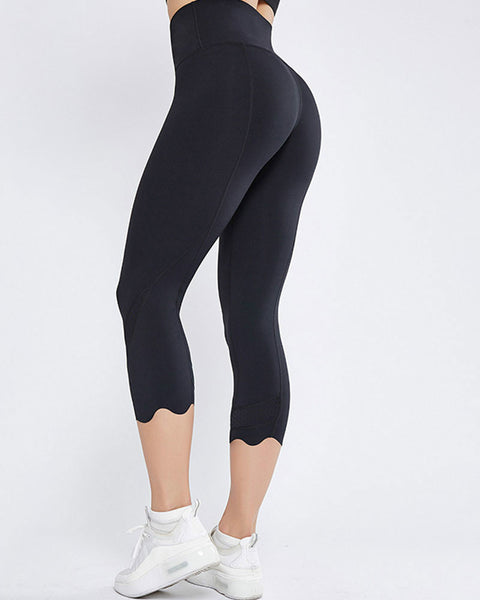 Hollow Out Scallop Detail Capris Sports Leggings gallery 1