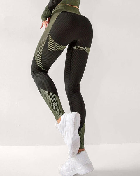 Striped High Rise Breathable Sports Leggings