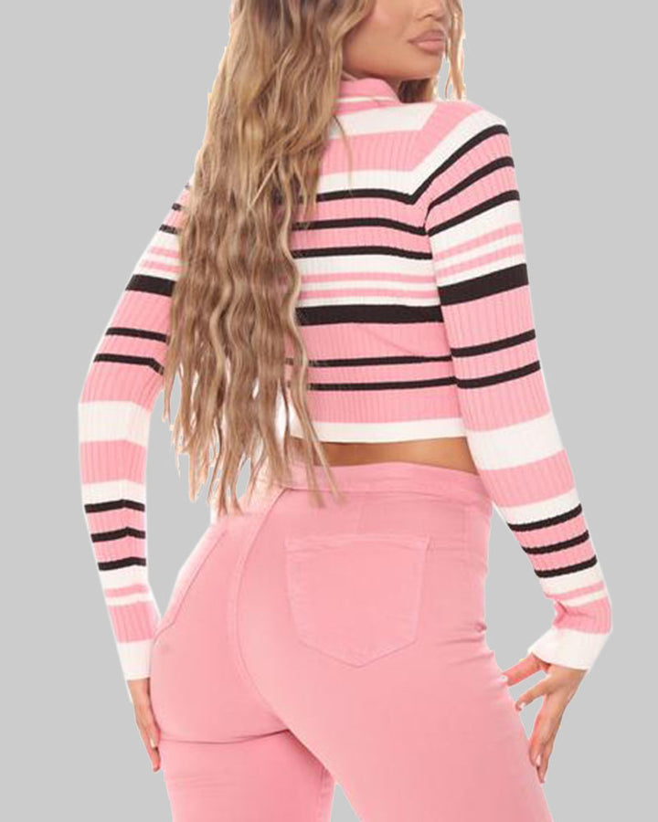 Striped Button Up Bodycon Crop Sweater gallery 11