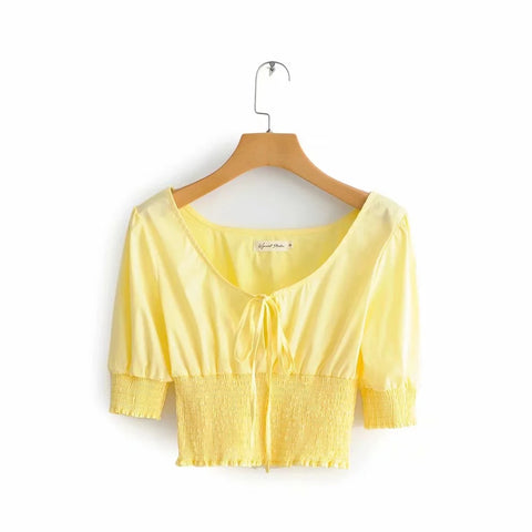 Ruched Elastic Waist Tie Front Cropped Shirt gallery 7