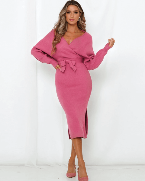 Stylish Wrap Waist Bow Tie Side Slit Knitted Midi Dress