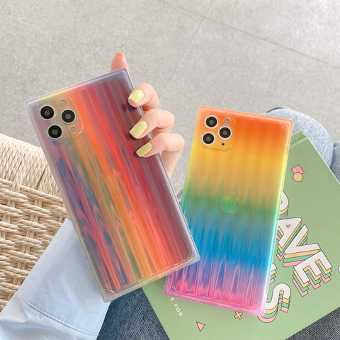 Colorful Ombre Rainbow Print Square iPhone Case