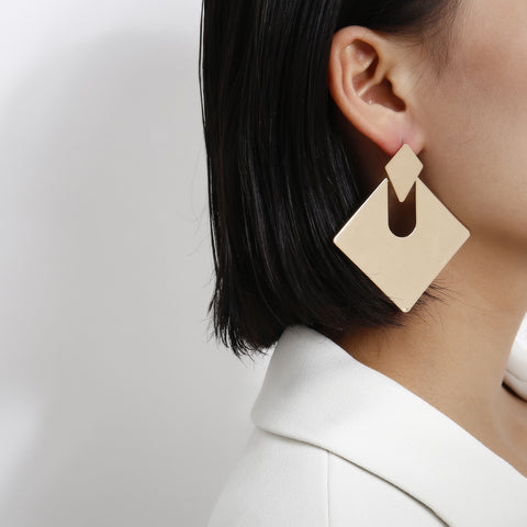 Gold Square Shape Cut Out Drop Earrings gallery 3