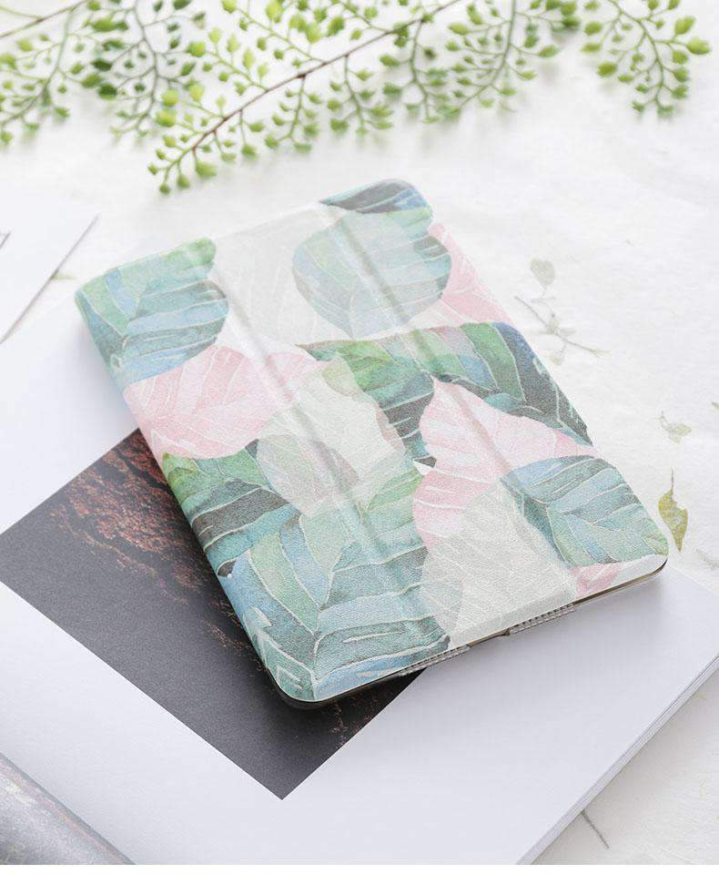 Fresh Leaves Painted Apple iPad Cover Case