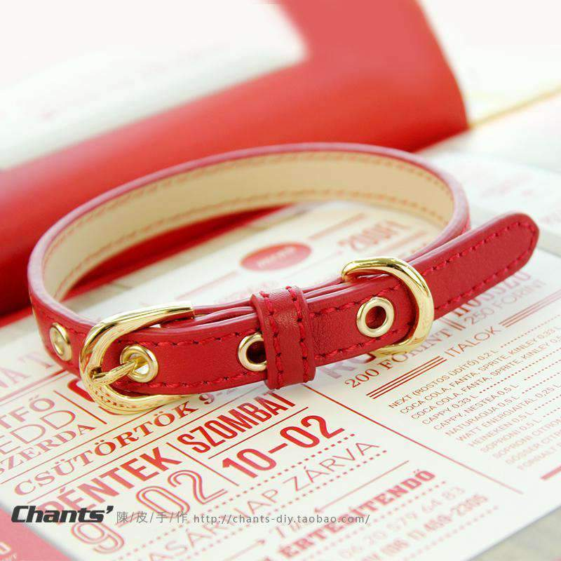 Cute Red Print Leather Pet Collar For All Pets