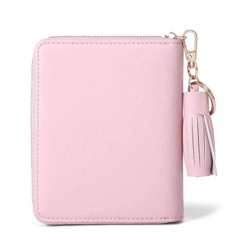Cow Leather Cute Pink All-Match Short Sized Wallet With Chain And Tassel Element gallery 4