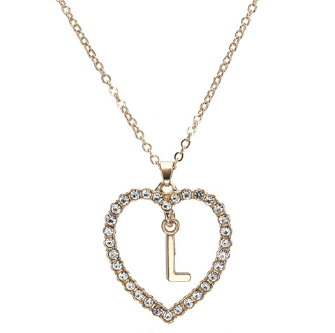 Gold Diamante Heart Shape Initial Pendant Necklace gallery 13