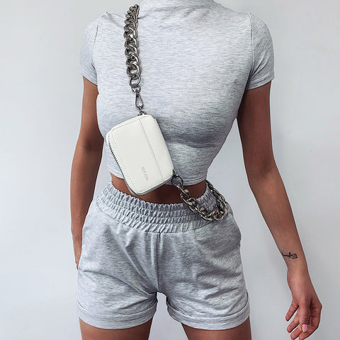 Short Sleeves Ruched High Waist Crop Top & Short Set