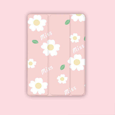 Pink Background Floral Apple iPad Cover Case gallery 1