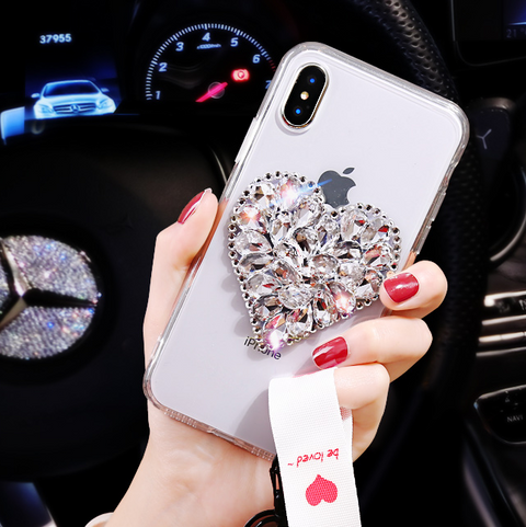 Heart Rhinestone Clear Transparent Phone Case for Samsung with Hand Strap gallery 4