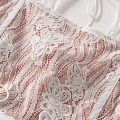 Lace Panel Square Collar Tie Self Cropped Shirt gallery 9