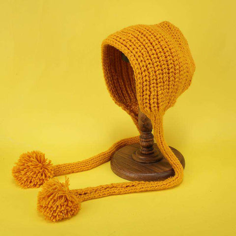Hand-made Cute Warm Knitted Woolen Ear Hat with Long Braid gallery 4