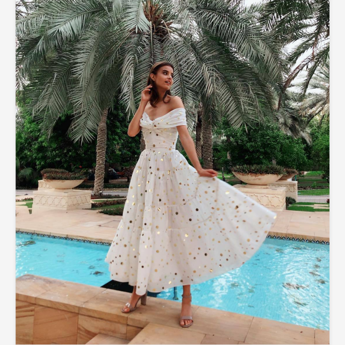 Polka Dot Off Shoulder Ruched Bust Midi Dress