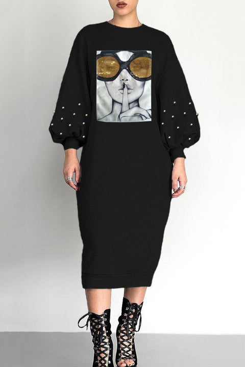 Sequins Bead Detail Puff Sleeve Midi Lounge Dress gallery 2