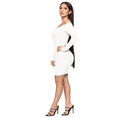 Shape Off Shoulder Ribbed Knitted Bodycon Dress gallery 14