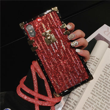 Blinking Full Cover Anti-Fall Phone Case for Samsung with Strap