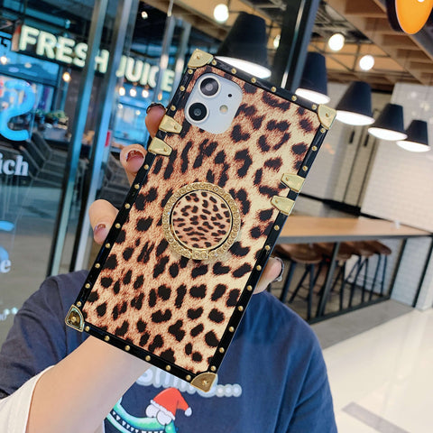 Leopard Print Rivet Deco Square Phone Case for Samsung with Phone Holder gallery 7
