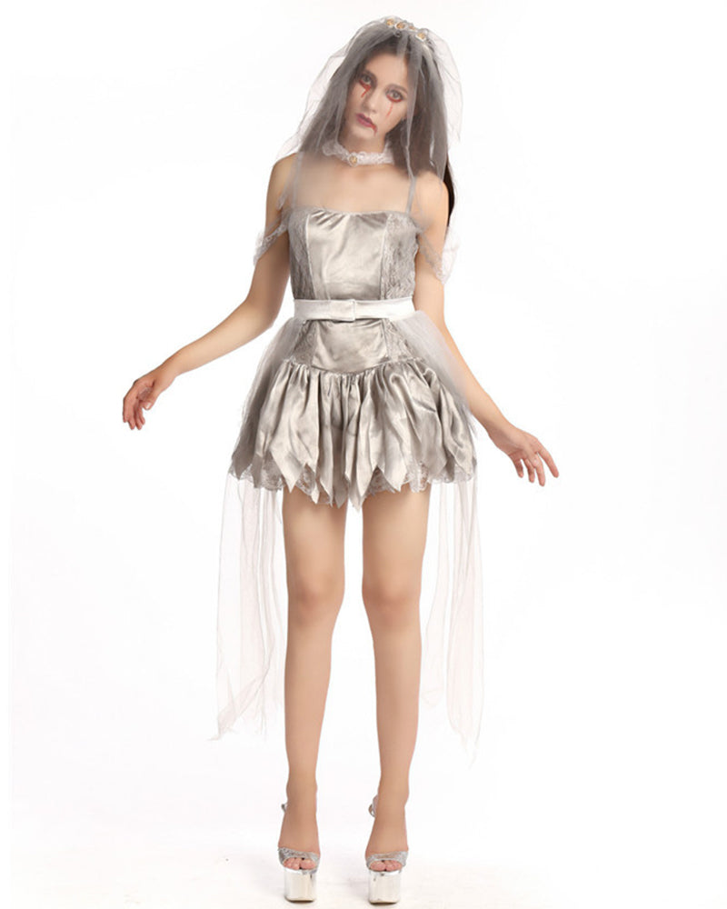 Belted Mesh Detail Ghost Bride Costume Dress