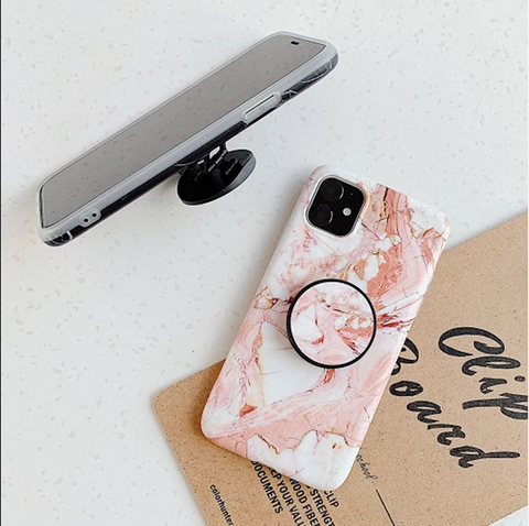 Pink Marble Print Phone Case for Samsung with Phone Holder gallery 4
