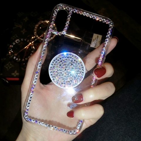 Luxury Small Rhinestone Trim Transparent Phone Case for Samsung with Phone Holder gallery 7