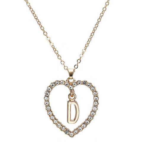 Gold Diamante Heart Shape Initial Pendant Necklace gallery 5