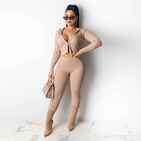 Sportive Zip Up Hooded Ribbed Cropped Top & Pants Set