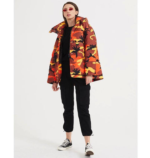 Boxy Camo Loose Hooded Back Letters Print Funnel Collar Puffer Jacket
