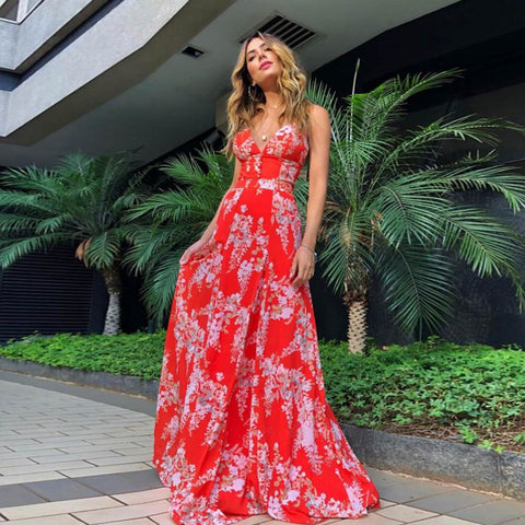 Floral Print Plunge Strappy Back Corset Maxi Dress