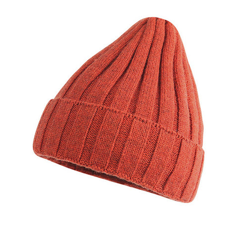 Ribbed Knit Cuffed Fuzzy Lining Beanie Hat gallery 4