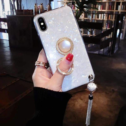 Elegant Shell Glittering Phone Case for Samsung with Shining Phone Holder gallery 3
