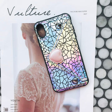 Geometry Grain Laser Phone Case For All iPhone with Card Purse & Rope