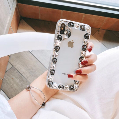 Glittering Rhinestone Side Clear Transparent Phone Case for Samsung gallery 14