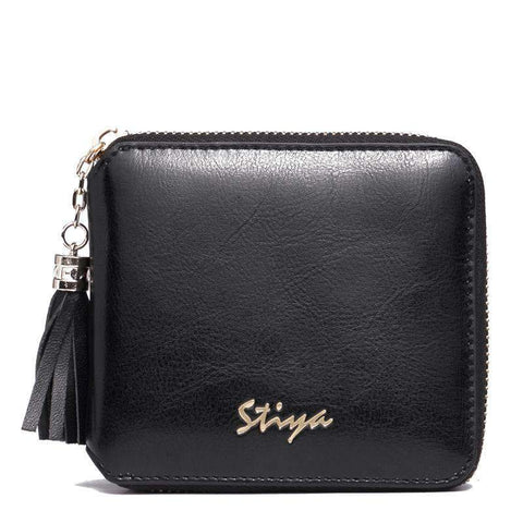 All-Match Cow Leather Minimalism Short Sized Black Card Bag gallery 1