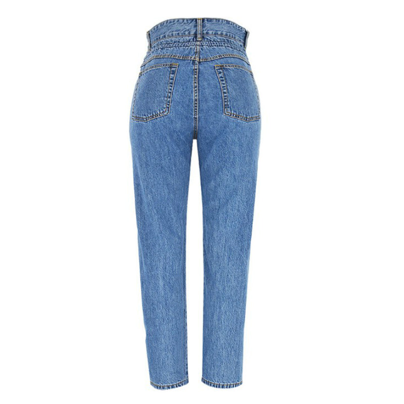High Waist Loose Straight Leg Mom Jeans